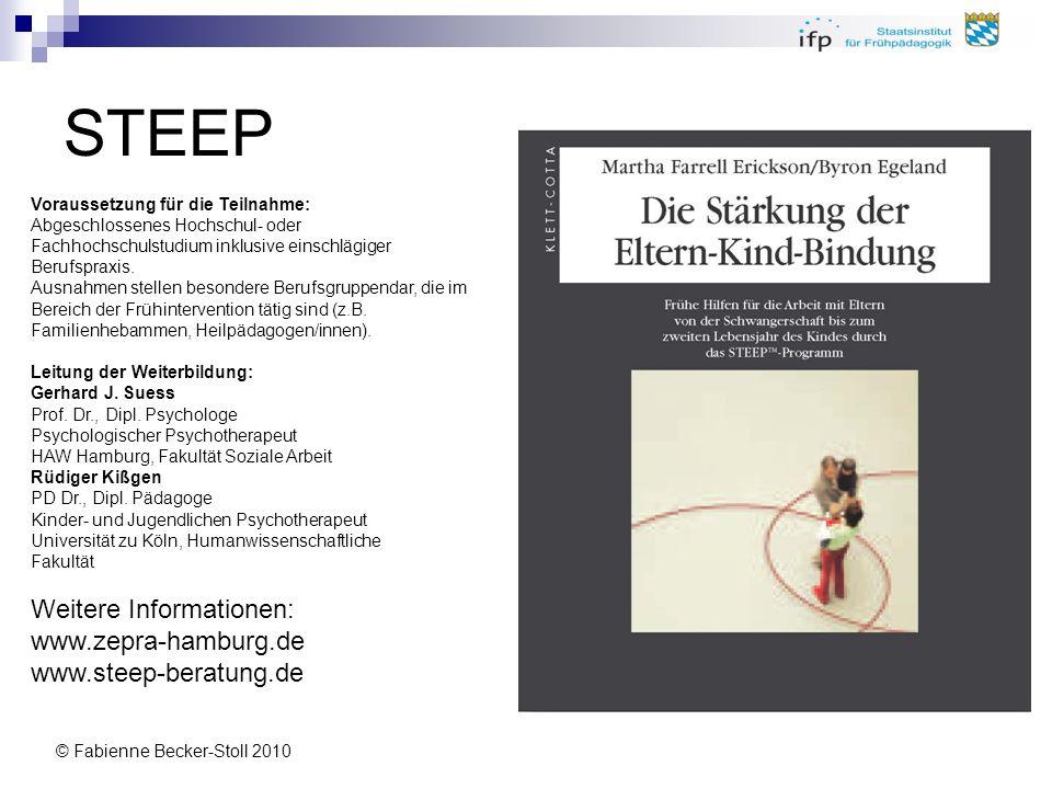 © Fabienne Becker-Stoll 2010 STEEP Voraussetzung für die Teilnahme: Abgeschlossenes Hochschul- oder Fachhochschulstudium inklusive einschlägiger Beruf