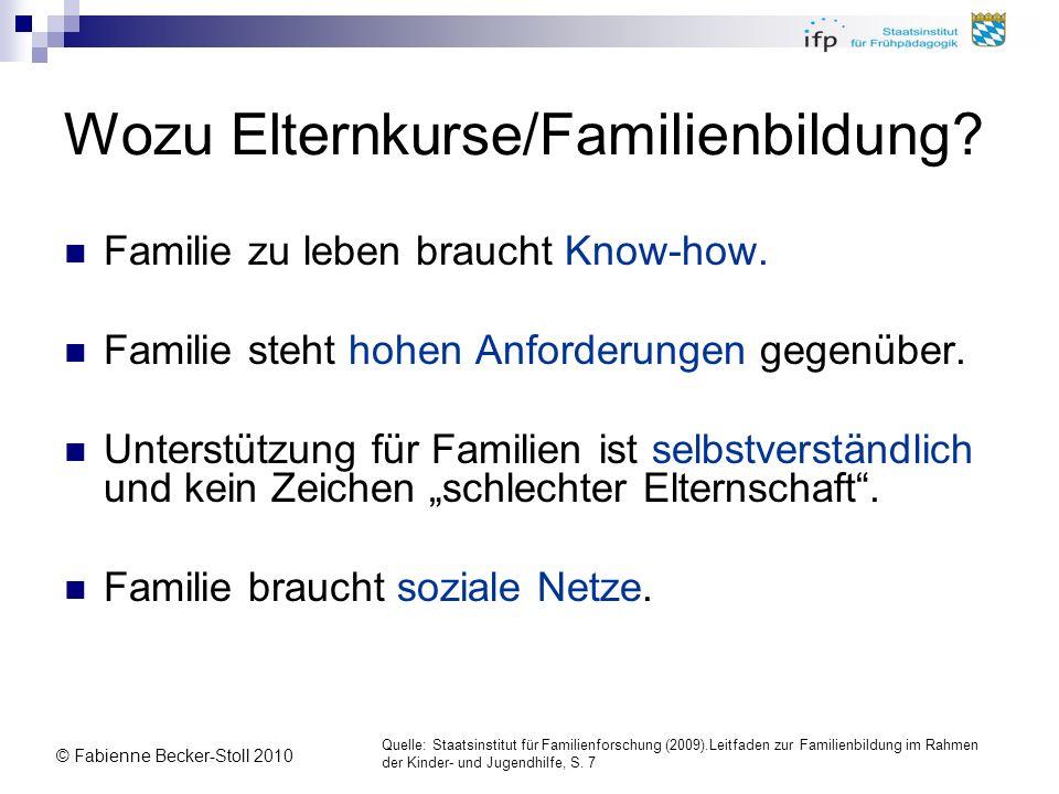© Fabienne Becker-Stoll 2010 Wozu Elternkurse/Familienbildung? Familie zu leben braucht Know-how. Familie steht hohen Anforderungen gegenüber. Unterst