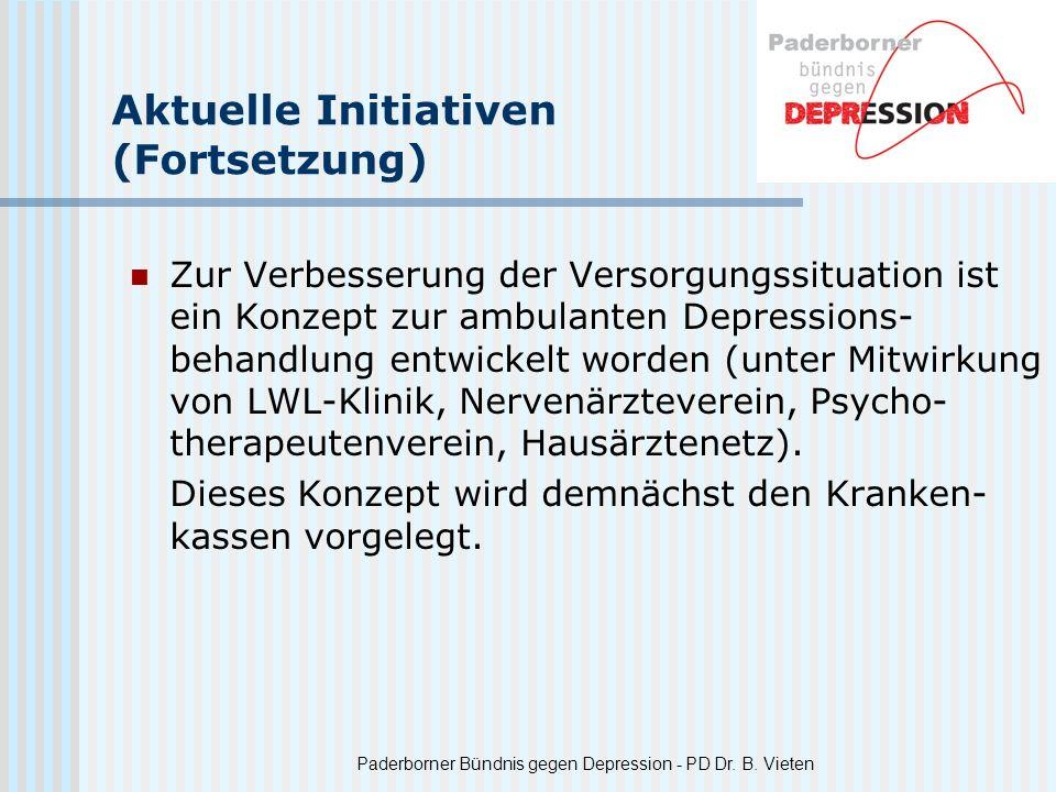Paderborner Bündnis gegen Depression - PD Dr. B. Vieten Aktuelle Initiativen (Fortsetzung) Zur Verbesserung der Versorgungssituation ist ein Konzept z