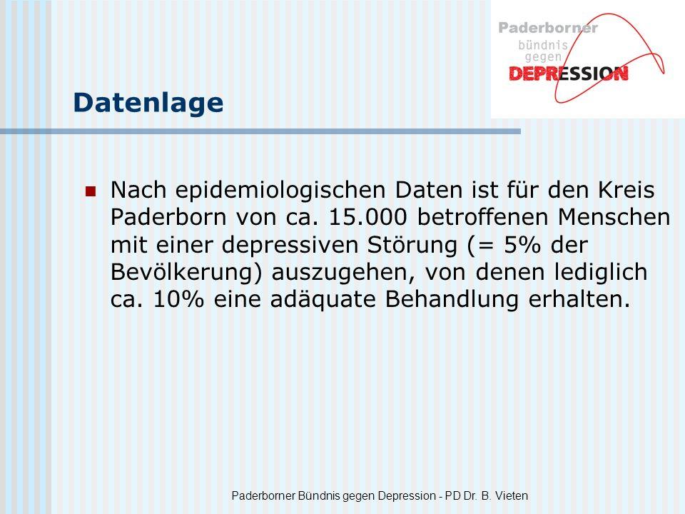 Paderborner Bündnis gegen Depression - PD Dr. B. Vieten Datenlage Nach epidemiologischen Daten ist für den Kreis Paderborn von ca. 15.000 betroffenen
