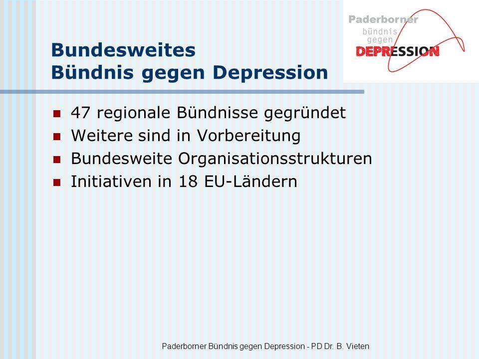 Paderborner Bündnis gegen Depression - PD Dr. B. Vieten Bundesweites Bündnis gegen Depression 47 regionale Bündnisse gegründet Weitere sind in Vorbere