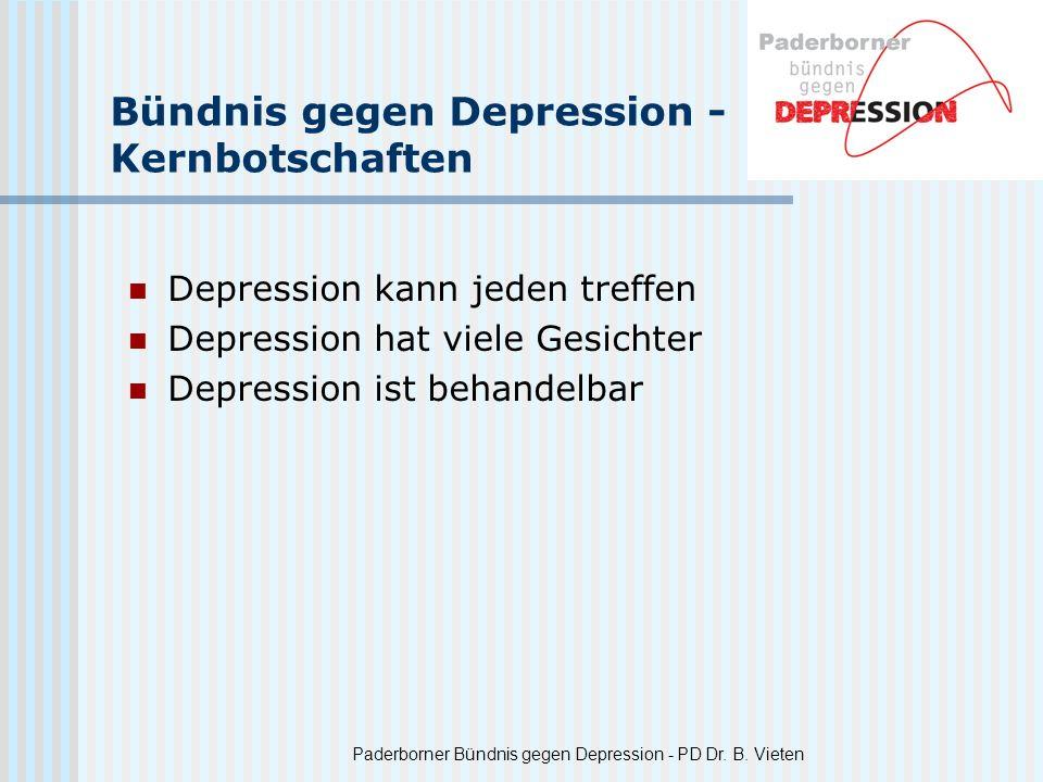 Paderborner Bündnis gegen Depression - PD Dr. B. Vieten Bündnis gegen Depression - Kernbotschaften Depression kann jeden treffen Depression hat viele