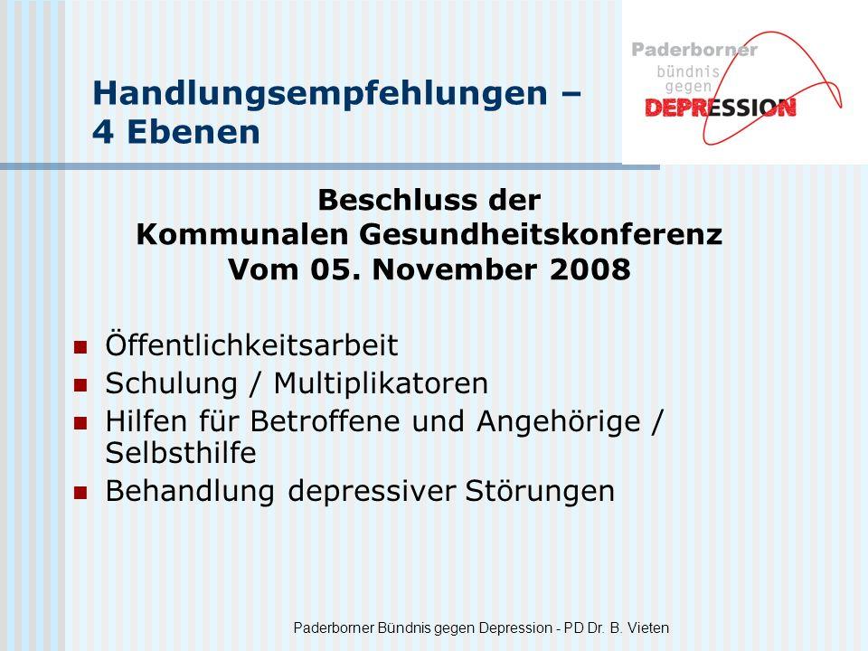 Paderborner Bündnis gegen Depression - PD Dr. B. Vieten Handlungsempfehlungen – 4 Ebenen Öffentlichkeitsarbeit Schulung / Multiplikatoren Hilfen für B