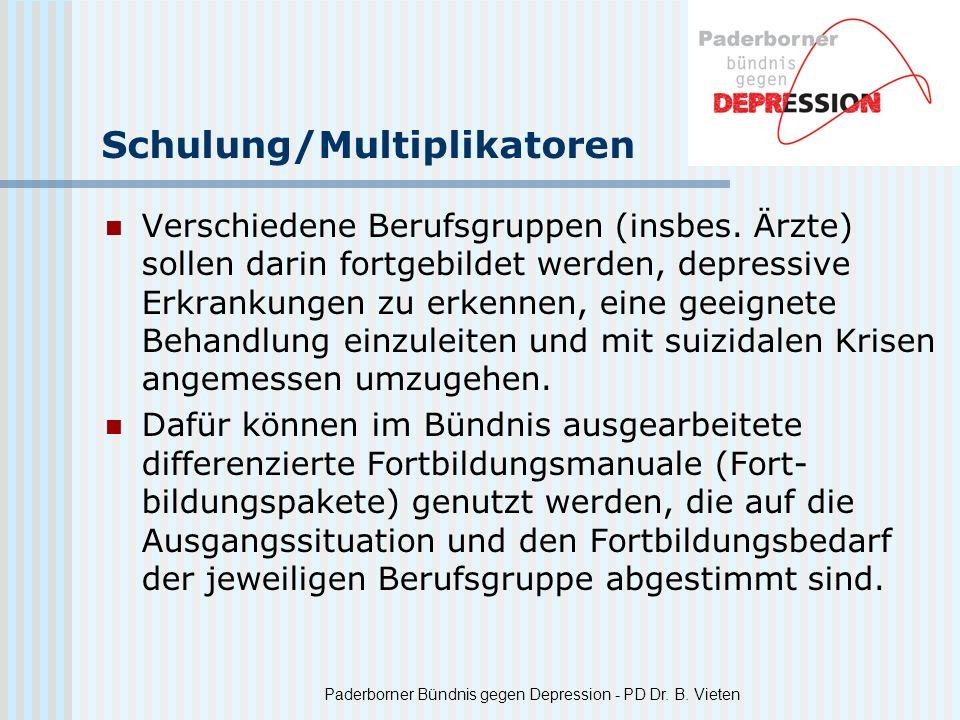Paderborner Bündnis gegen Depression - PD Dr. B. Vieten Schulung/Multiplikatoren Verschiedene Berufsgruppen (insbes. Ärzte) sollen darin fortgebildet