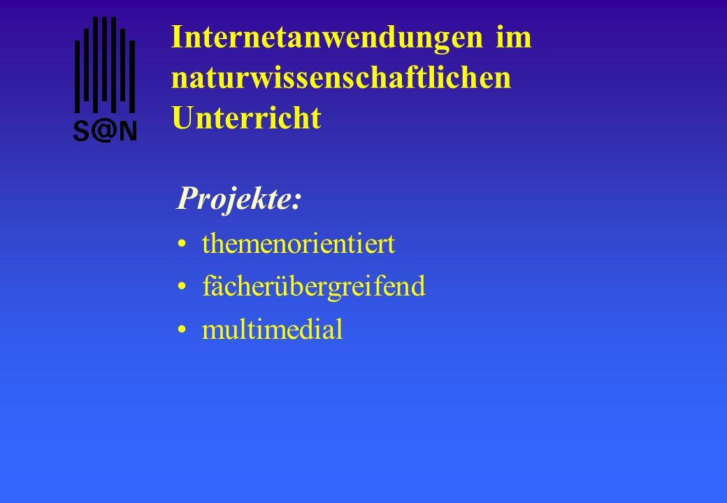 Internetanwendungen im naturwissenschaftlichen Unterricht Projekte: themenorientiert fächerübergreifend multimedial