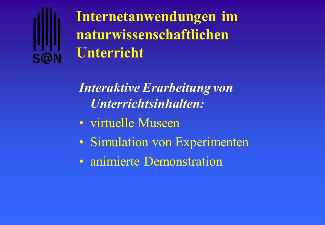 Internetanwendungen im naturwissenschaftlichen Unterricht Interaktive Erarbeitung von Unterrichtsinhalten: virtuelle Museen Simulation von Experimente