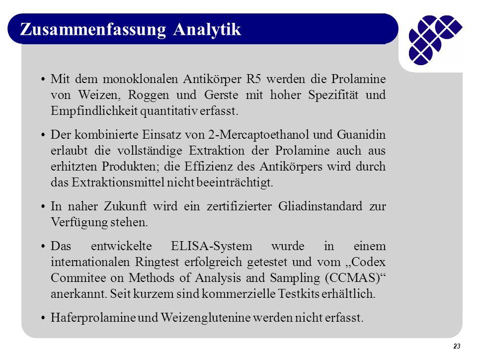 23 Zusammenfassung Analytik Mit dem monoklonalen Antikörper R5 werden die Prolamine von Weizen, Roggen und Gerste mit hoher Spezifität und Empfindlichkeit quantitativ erfasst.