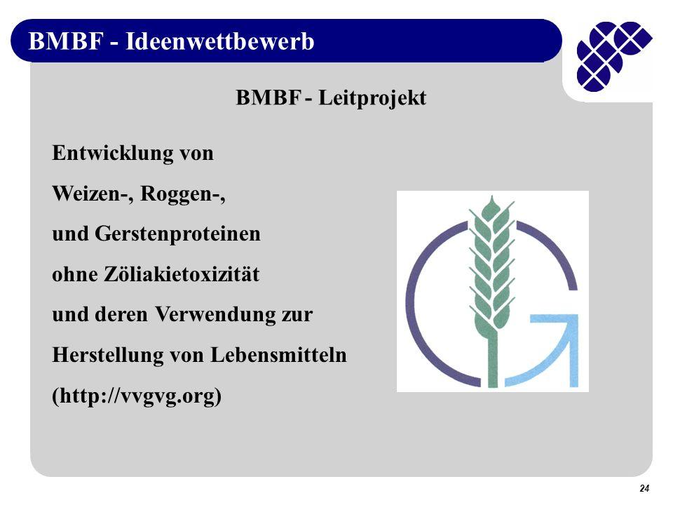 24 BMBF - Ideenwettbewerb BMBF - Leitprojekt Entwicklung von Weizen-, Roggen-, und Gerstenproteinen ohne Zöliakietoxizität und deren Verwendung zur Herstellung von Lebensmitteln (http://vvgvg.org)