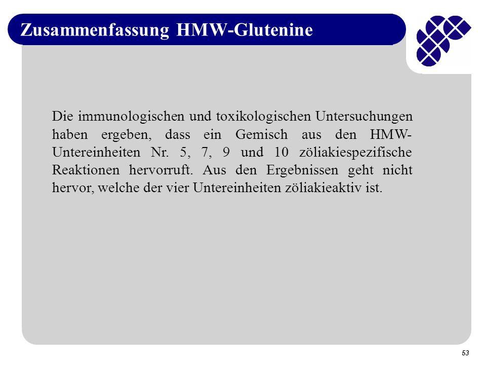 53 Zusammenfassung HMW-Glutenine Die immunologischen und toxikologischen Untersuchungen haben ergeben, dass ein Gemisch aus den HMW- Untereinheiten Nr.