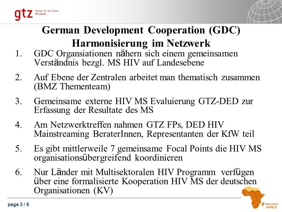 page 3 / 6 German Development Cooperation (GDC) Harmonisierung im Netzwerk 1.GDC Organsiationen n ä hern sich einem gemeinsamen Verst ä ndnis bezgl.