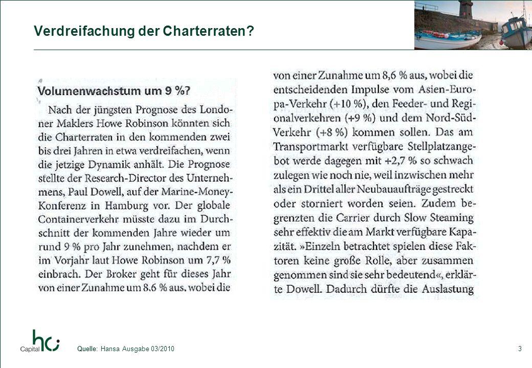 3 Verdreifachung der Charterraten? Quelle:Quelle: Hansa Ausgabe 03/2010