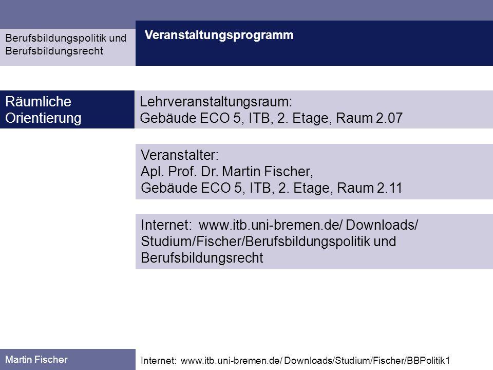 Veranstaltungsprogramm Berufsbildungspolitik und Berufsbildungsrecht Martin Fischer Internet: www.itb.uni-bremen.de/ Downloads/Studium/Fischer/BBPolit