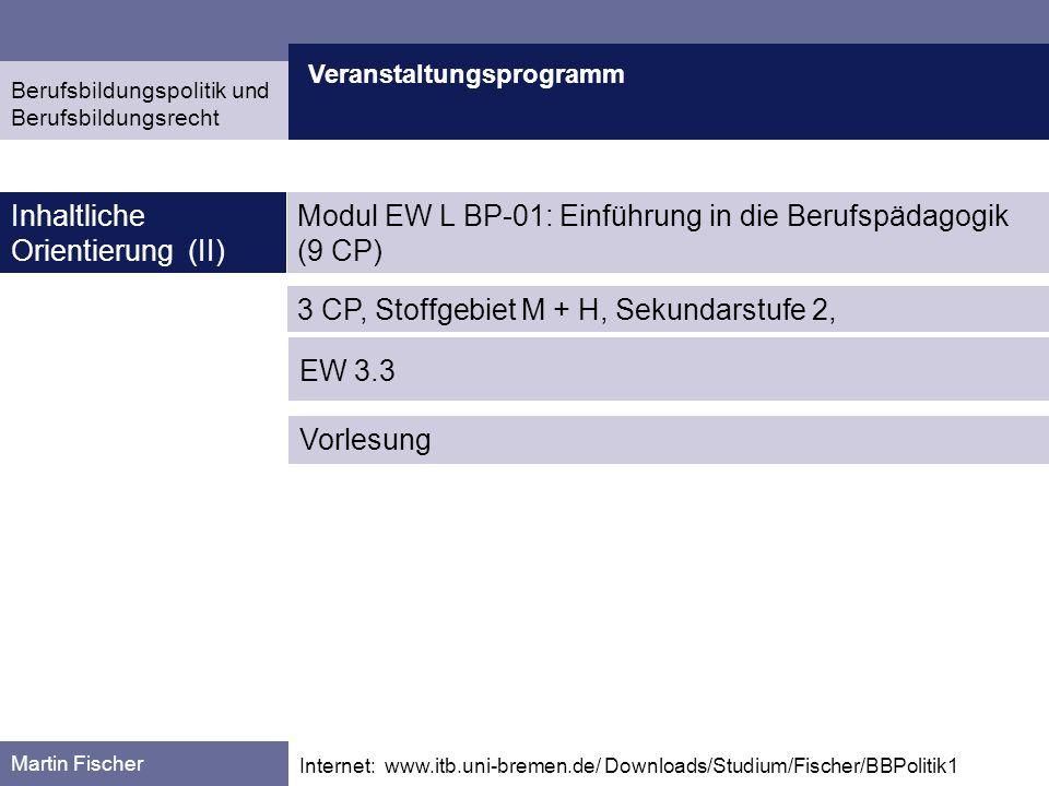 Veranstaltungsprogramm Martin Fischer Internet: www.itb.uni-bremen.de/ Downloads/Studium/Fischer/BBPolitik1 Inhaltliche Orientierung (II) Berufsbildun