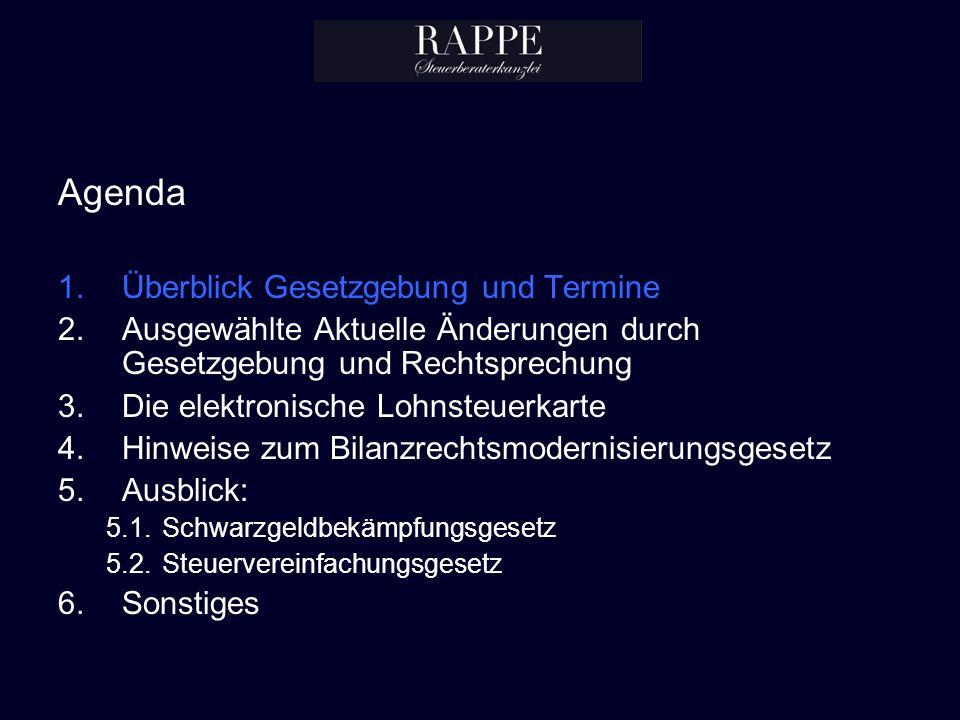 Agenda 1.Überblick Gesetzgebung und Termine 2.Ausgewählte Aktuelle Änderungen durch Gesetzgebung und Rechtsprechung 3.Die elektronische Lohnsteuerkart