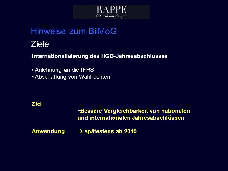 Hinweise zum BilMoG Ziele Internationalisierung des HGB-Jahresabschlusses Anlehnung an die IFRS Abschaffung von Wahlrechten Ziel Bessere Vergleichbark