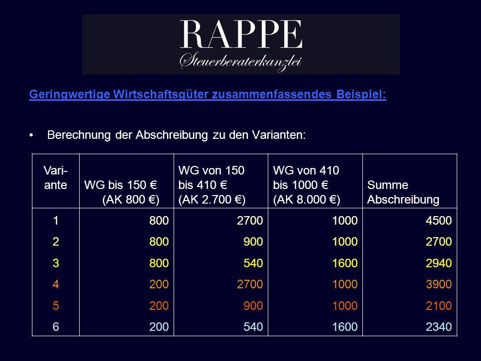 Geringwertige Wirtschaftsgüter zusammenfassendes Beispiel: Berechnung der Abschreibung zu den Varianten: Vari- anteWG bis 150 (AK 800 ) WG von 150 bis