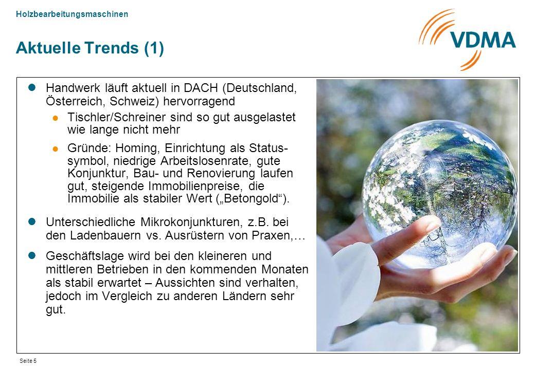 Holzbearbeitungsmaschinen Seite 5 Aktuelle Trends (1) Handwerk läuft aktuell in DACH (Deutschland, Österreich, Schweiz) hervorragend Tischler/Schreine