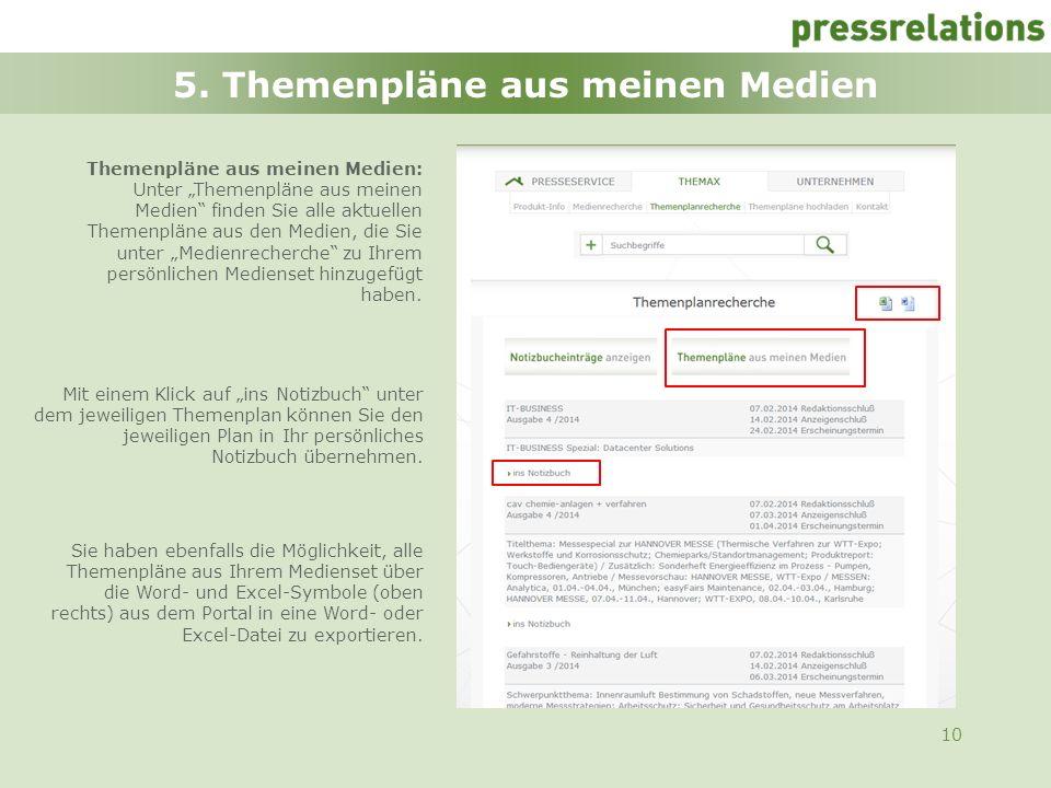 10 5. Themenpläne aus meinen Medien Mit einem Klick auf ins Notizbuch unter dem jeweiligen Themenplan können Sie den jeweiligen Plan in Ihr persönlich