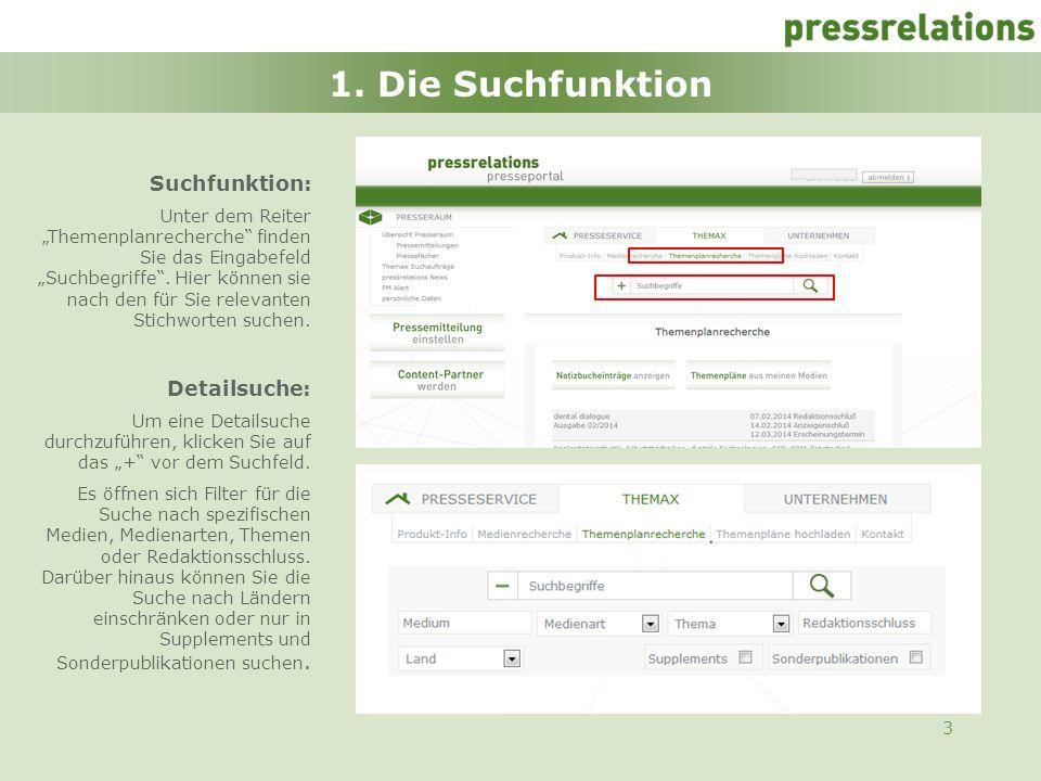 3 1. Die Suchfunktion Suchfunktion: Unter dem Reiter Themenplanrecherche finden Sie das Eingabefeld Suchbegriffe. Hier können sie nach den für Sie rel