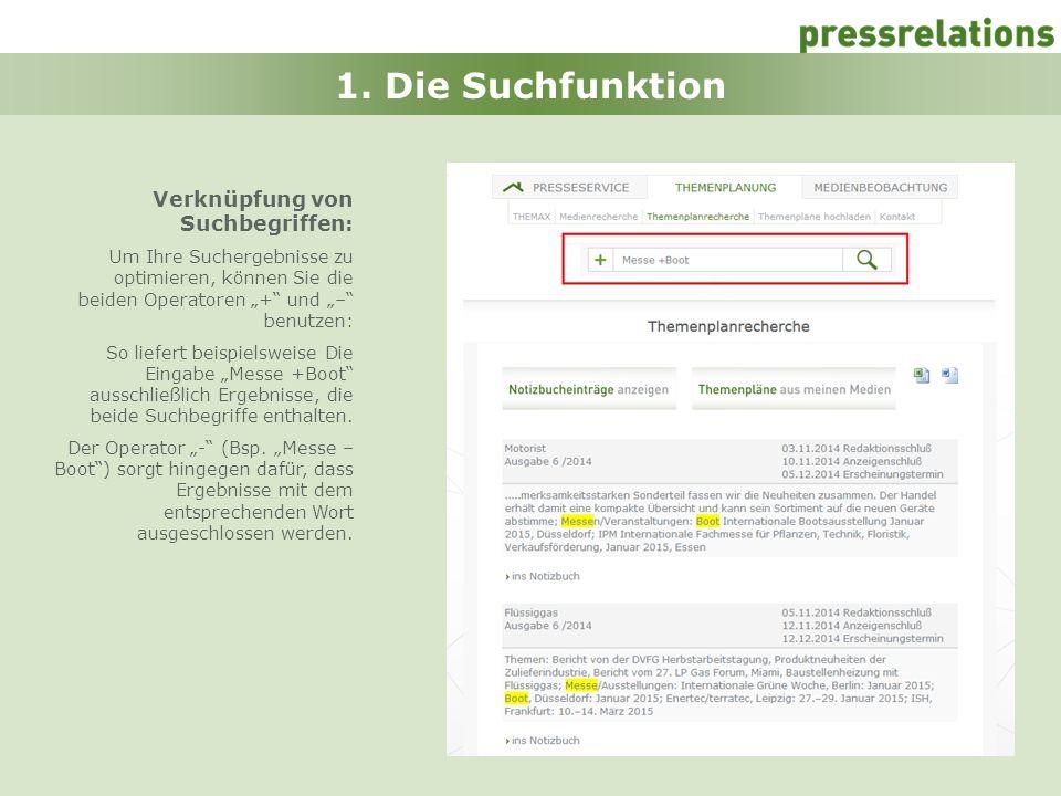4 1. Die Suchfunktion Verknüpfung von Suchbegriffen: Um Ihre Suchergebnisse zu optimieren, können Sie die beiden Operatoren + und – benutzen: So liefe