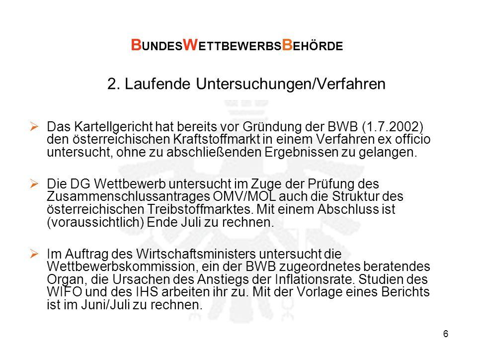6 2. Laufende Untersuchungen/Verfahren Das Kartellgericht hat bereits vor Gründung der BWB (1.7.2002) den österreichischen Kraftstoffmarkt in einem Ve