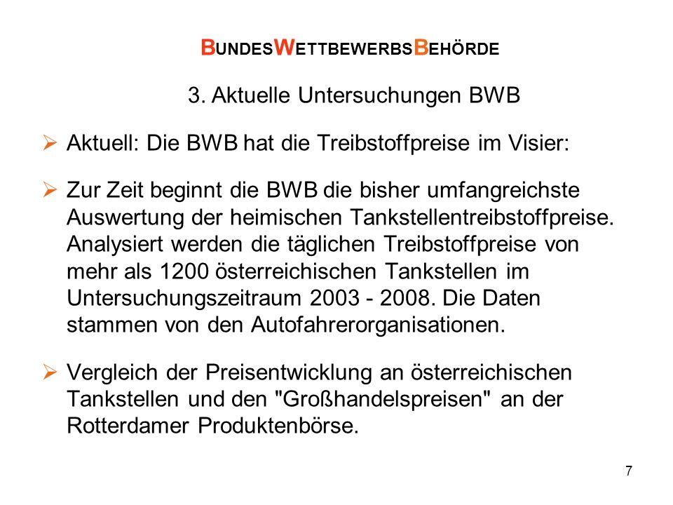 7 Aktuell: Die BWB hat die Treibstoffpreise im Visier: Zur Zeit beginnt die BWB die bisher umfangreichste Auswertung der heimischen Tankstellentreibst
