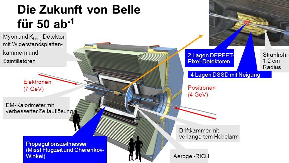 Die Zukunft von Belle für 50 ab -1 Positronen (4 GeV) Elektronen (7 GeV) Myon und K Long Detektor mit Widerstandsplatten- kammern und Szintillatoren Strahlrohr 1,2 cm Radius Driftkammer mit verlängertem Hebelarm Aerogel-RICH EM-Kalorimeter mit verbesserter Zeitauflösung Propagationszeitmesser (Misst Flugzeit und Cherenkov- Winkel) 4 Lagen DSSD mit Neigung 2 Lagen DEPFET- Pixel-Detektoren