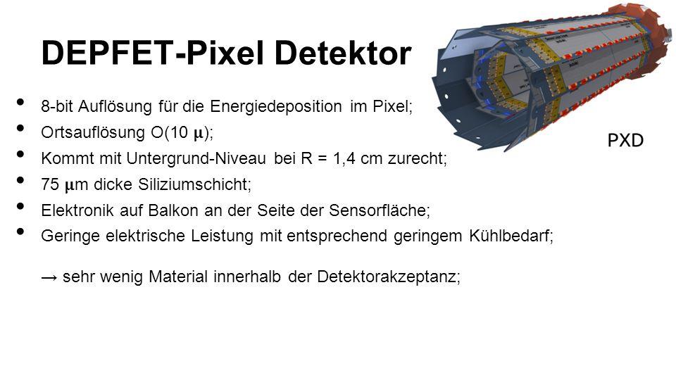 DEPFET-Pixel Detektor 8-bit Auflösung für die Energiedeposition im Pixel; Ortsauflösung O(10 ); Kommt mit Untergrund-Niveau bei R = 1,4 cm zurecht; 75 m dicke Siliziumschicht; Elektronik auf Balkon an der Seite der Sensorfläche; Geringe elektrische Leistung mit entsprechend geringem Kühlbedarf; sehr wenig Material innerhalb der Detektorakzeptanz;