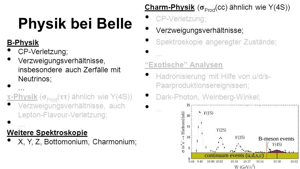 Charm-Physik ( Prod (cc) ähnlich wie Y(4S)) CP-Verletzung; Verzweigungsverhältnisse; Spektroskopie angeregter Zustände;...