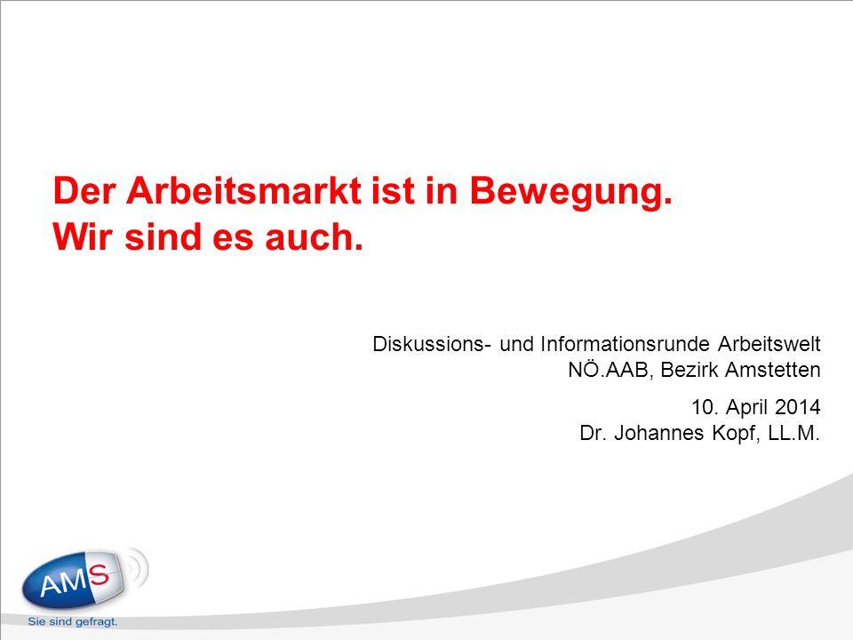 Der Arbeitsmarkt ist in Bewegung. Wir sind es auch. Diskussions- und Informationsrunde Arbeitswelt NÖ.AAB, Bezirk Amstetten 10. April 2014 Dr. Johanne