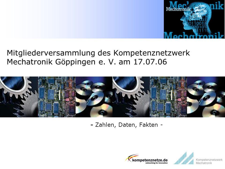 - Zahlen, Daten, Fakten - Mitgliederversammlung des Kompetenznetzwerk Mechatronik Göppingen e. V. am 17.07.06