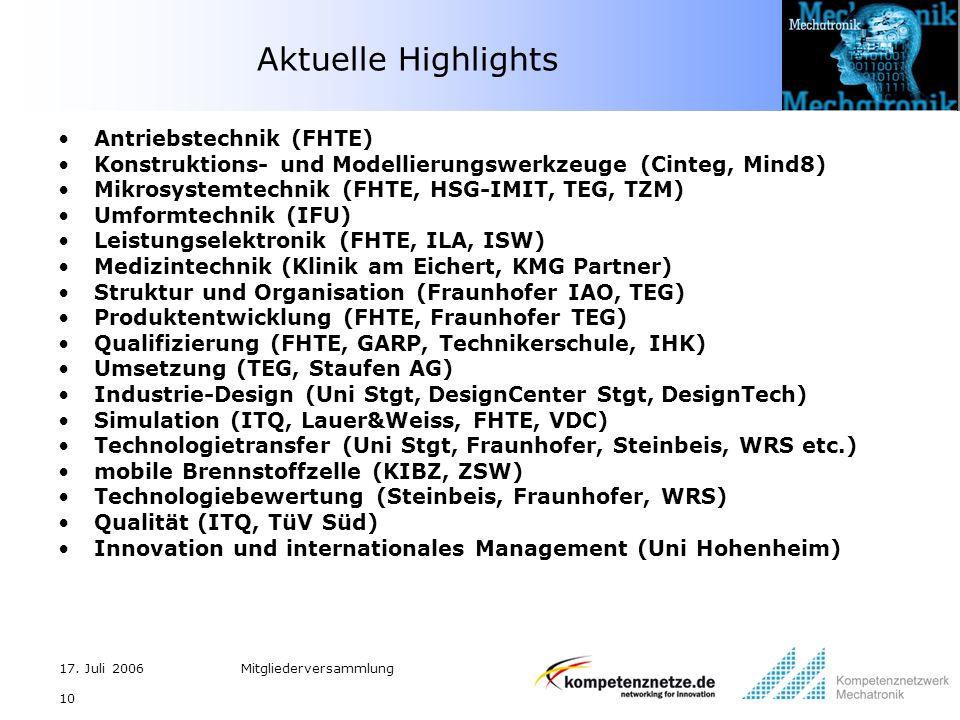 17. Juli 2006Mitgliederversammlung 10 Aktuelle Highlights Antriebstechnik (FHTE) Konstruktions- und Modellierungswerkzeuge (Cinteg, Mind8) Mikrosystem