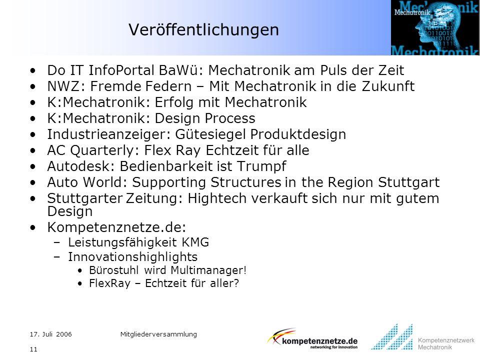 17. Juli 2006Mitgliederversammlung 11 Veröffentlichungen Do IT InfoPortal BaWü: Mechatronik am Puls der Zeit NWZ: Fremde Federn – Mit Mechatronik in d