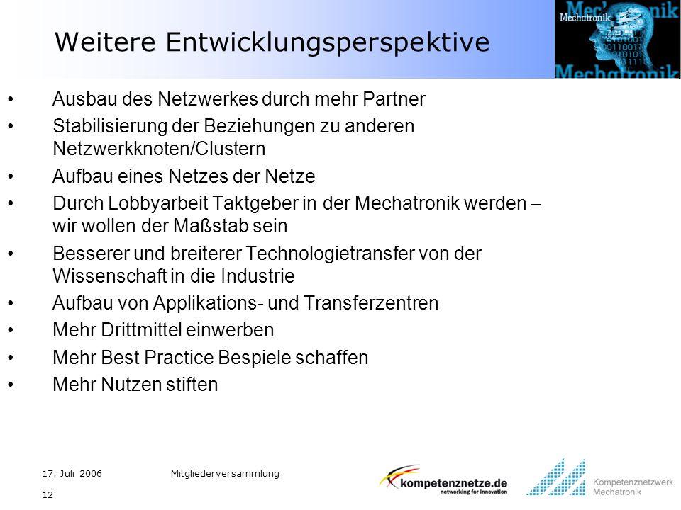17. Juli 2006Mitgliederversammlung 12 Weitere Entwicklungsperspektive Ausbau des Netzwerkes durch mehr Partner Stabilisierung der Beziehungen zu ander