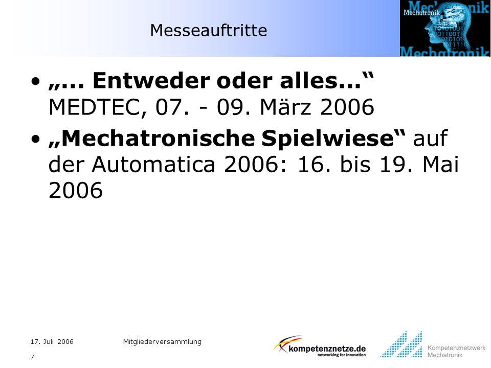 17. Juli 2006Mitgliederversammlung 7 Messeauftritte... Entweder oder alles... MEDTEC, 07. - 09. März 2006 Mechatronische Spielwiese auf der Automatica