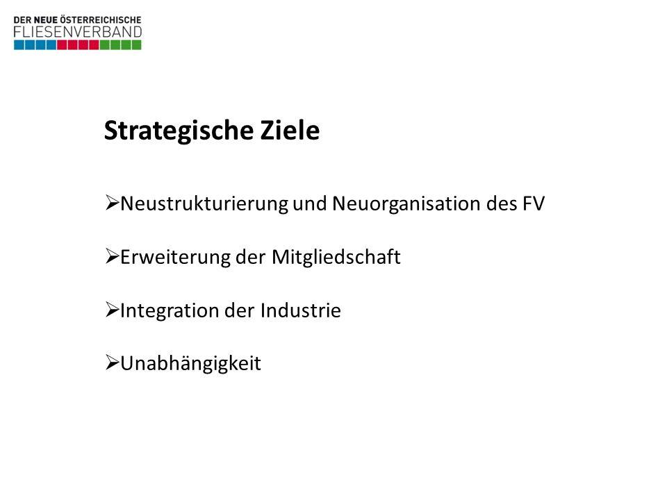 Neustrukturierung und Neuorganisation des FV Erweiterung der Mitgliedschaft Integration der Industrie Unabhängigkeit Strategische Ziele