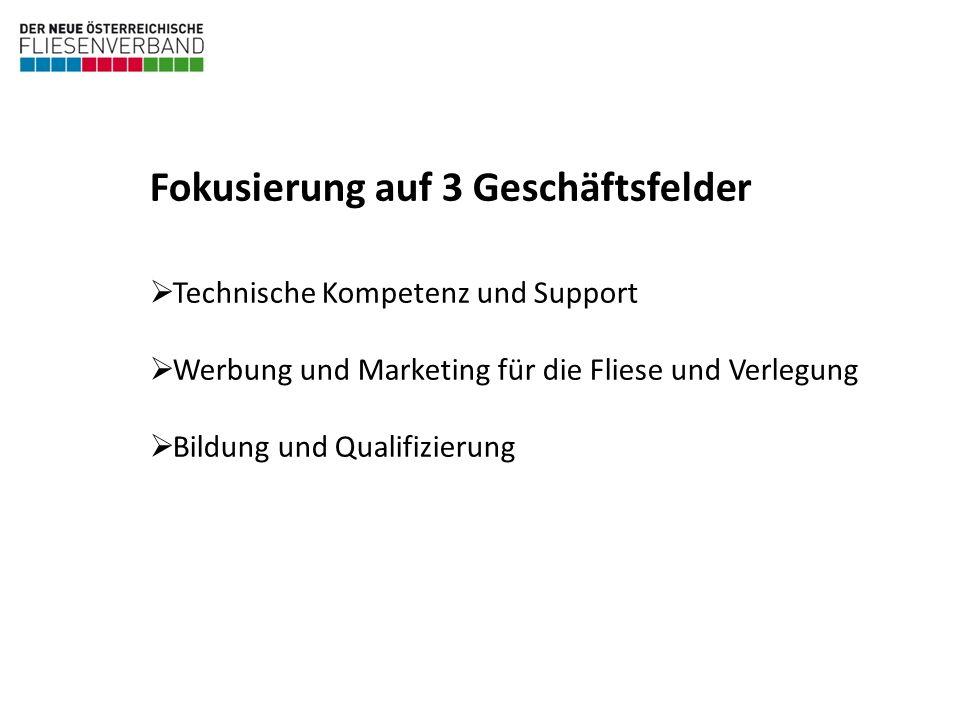 Technische Kompetenz und Support Werbung und Marketing für die Fliese und Verlegung Bildung und Qualifizierung Fokusierung auf 3 Geschäftsfelder