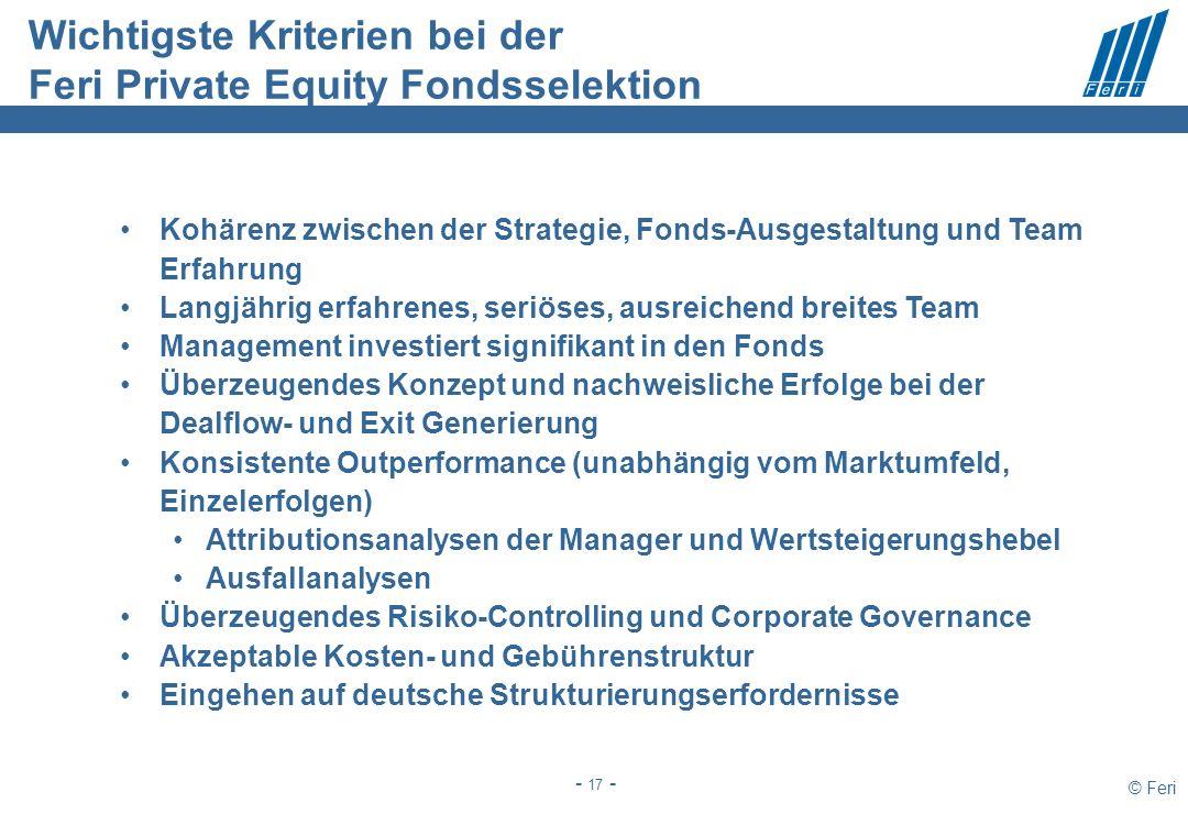 © Feri - 17 - Wichtigste Kriterien bei der Feri Private Equity Fondsselektion Kohärenz zwischen der Strategie, Fonds-Ausgestaltung und Team Erfahrung