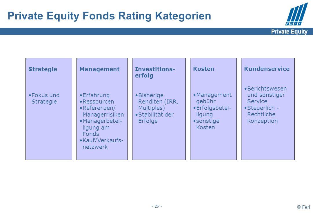 © Feri - 26 - Private Equity Fonds Rating Kategorien Strategie Fokus und Strategie Management Erfahrung Ressourcen Referenzen/ Managerrisiken Managerb