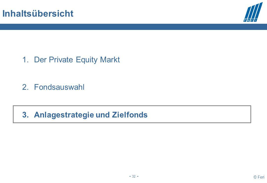 © Feri - 32 - Inhaltsübersicht 1.Der Private Equity Markt 2.Fondsauswahl 3.Anlagestrategie und Zielfonds