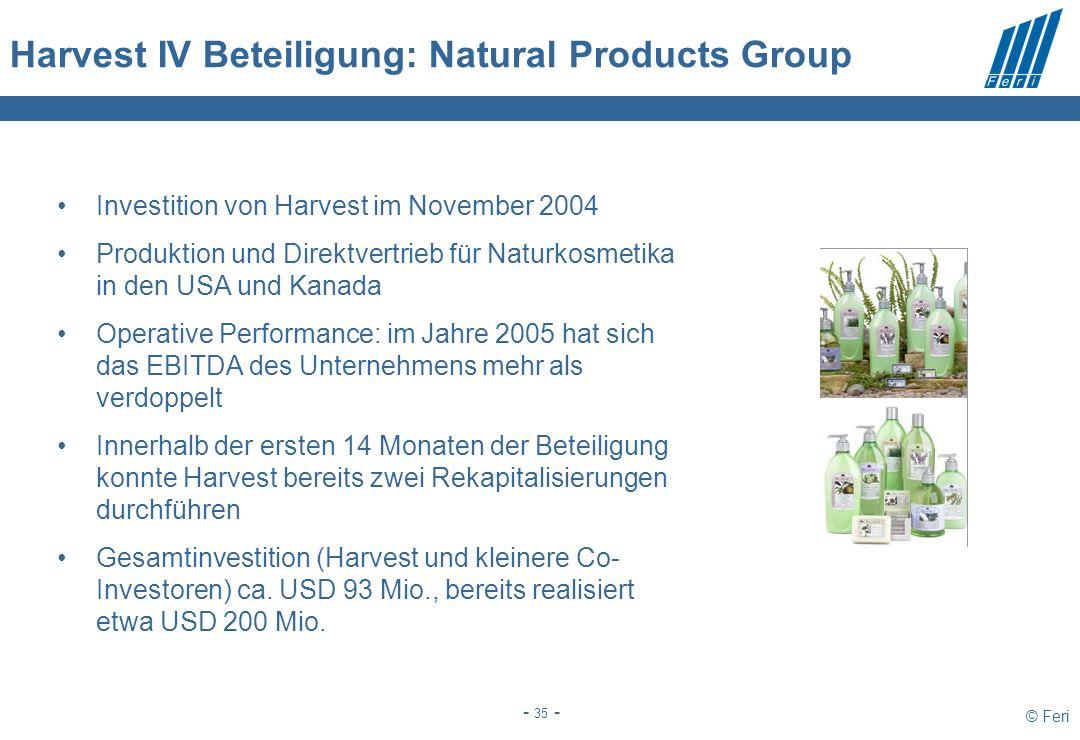 © Feri - 35 - Harvest IV Beteiligung: Natural Products Group Investition von Harvest im November 2004 Produktion und Direktvertrieb für Naturkosmetika