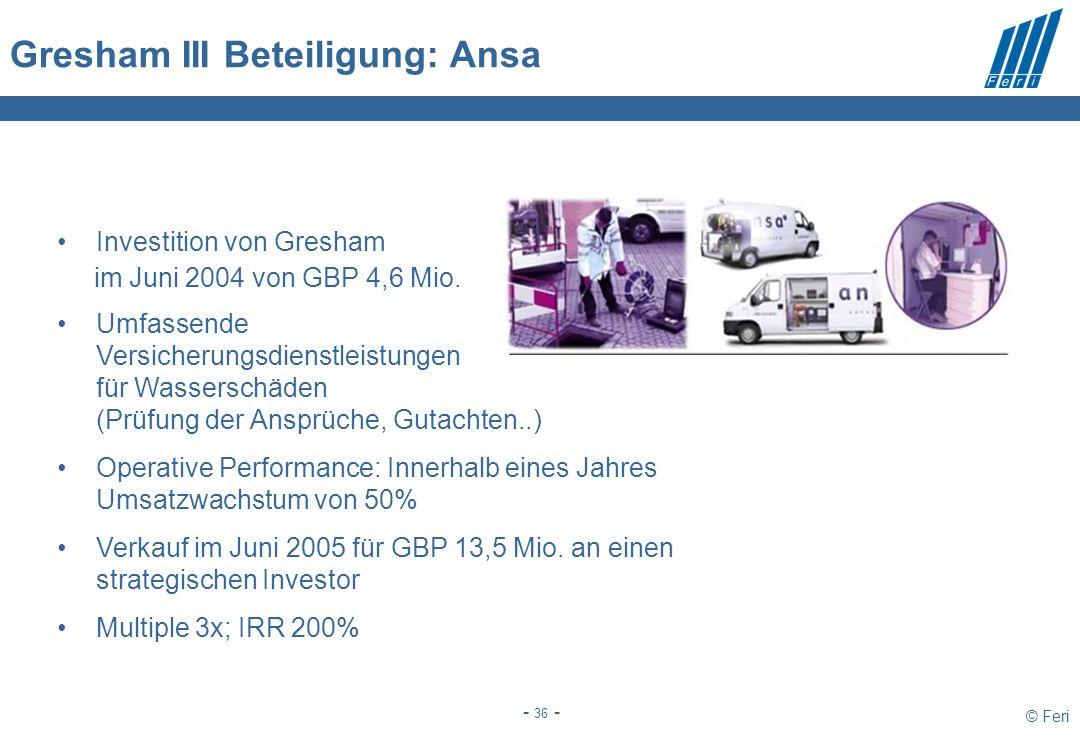 © Feri - 36 - Gresham III Beteiligung: Ansa Investition von Gresham im Juni 2004 von GBP 4,6 Mio. Umfassende Versicherungsdienstleistungen für Wassers