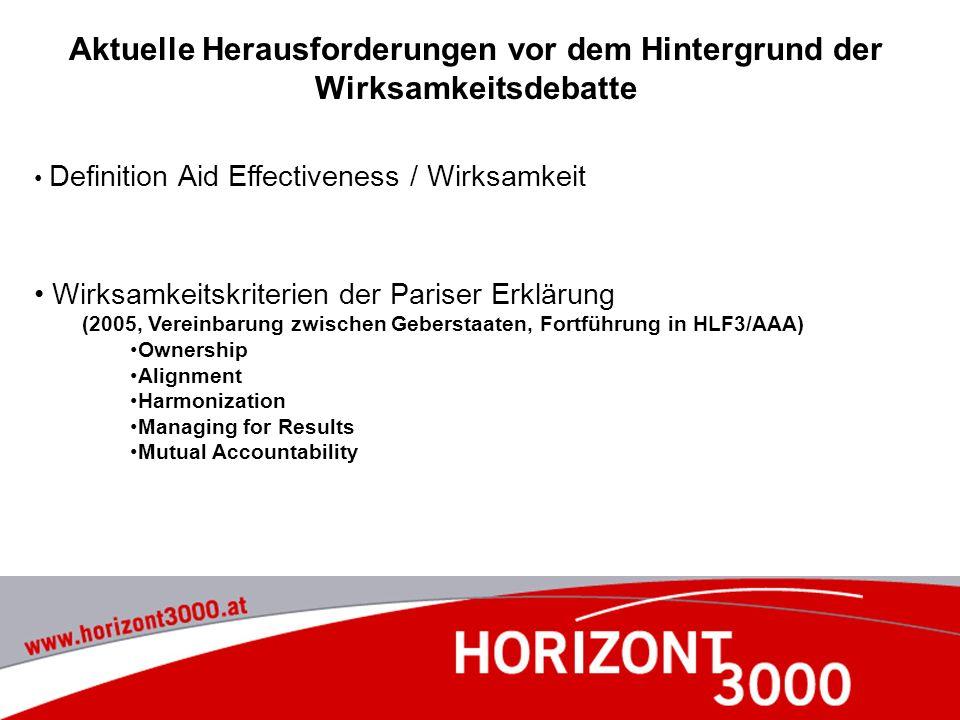 Aktuelle Herausforderungen vor dem Hintergrund der Wirksamkeitsdebatte Definition Aid Effectiveness / Wirksamkeit Wirksamkeitskriterien der Pariser Er