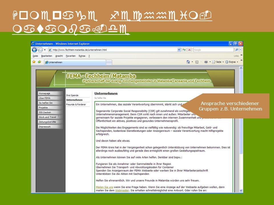 Homepage fechheim- matamba.de Ansprache verschiedener Gruppen z.B. Unternehmen