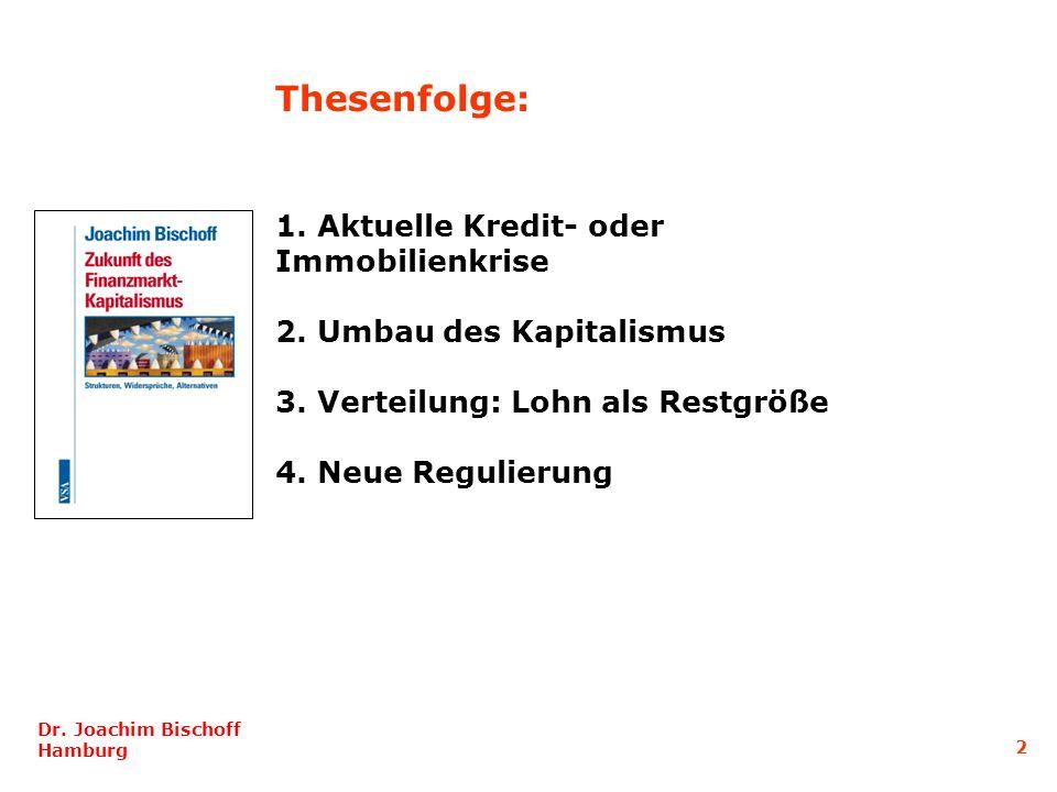 1. Aktuelle Kredit- oder Immobilienkrise 2. Umbau des Kapitalismus 3. Verteilung: Lohn als Restgröße 4. Neue Regulierung Dr. Joachim Bischoff Hamburg
