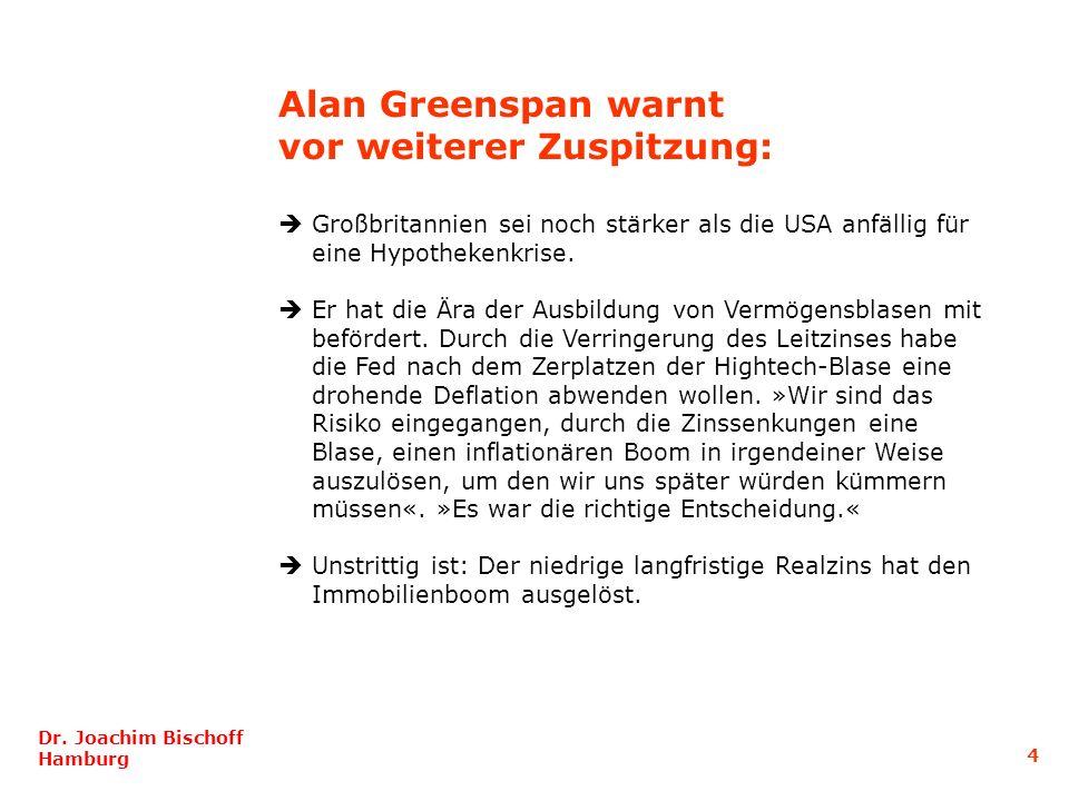 Dr. Joachim Bischoff Hamburg 5 Entwicklung der realen Immobilienpreise