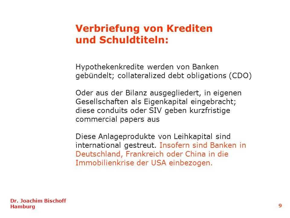 Hypothekenkredite werden von Banken gebündelt; collateralized debt obligations (CDO) Oder aus der Bilanz ausgegliedert, in eigenen Gesellschaften als