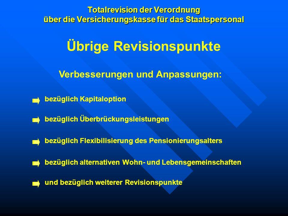 Totalrevision der Verordnung über die Versicherungskasse für das Staatspersonal Übrige Revisionspunkte Verbesserungen und Anpassungen: bezüglich Kapit