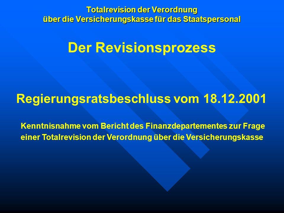 Totalrevision der Verordnung über die Versicherungskasse für das Staatspersonal Regierungsratsbeschluss vom 18.12.2001 Kenntnisnahme vom Bericht des F