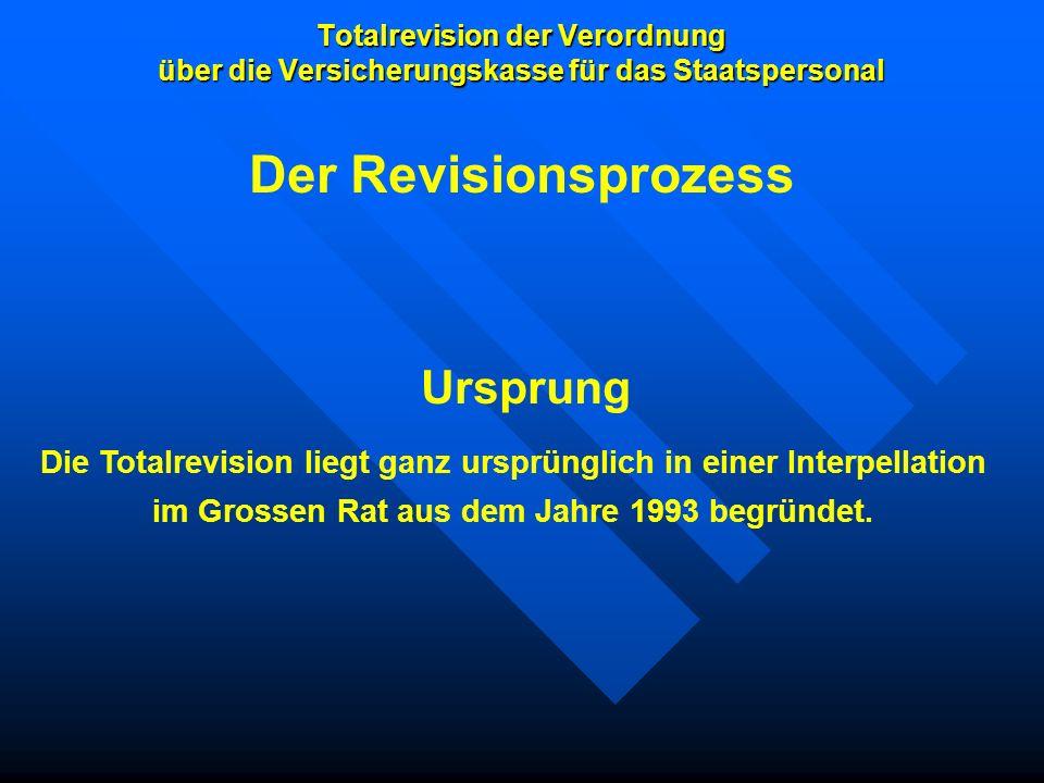 Totalrevision der Verordnung über die Versicherungskasse für das Staatspersonal Ursprung Die Totalrevision liegt ganz ursprünglich in einer Interpella